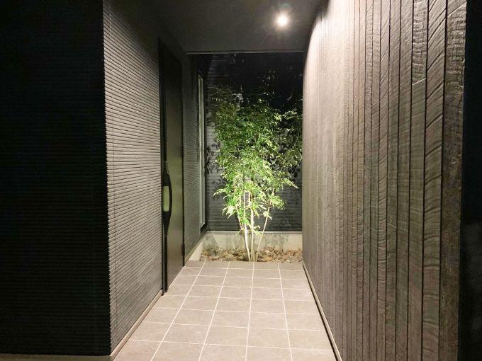 シンボルツリーのある玄関/注文住宅実例