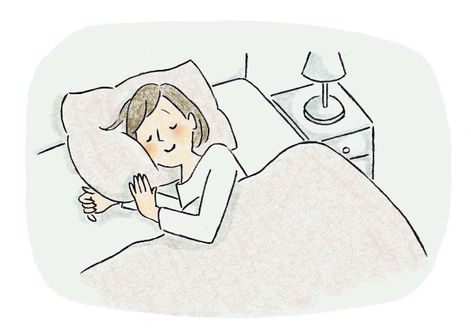 寝室で眠る女性のイラスト