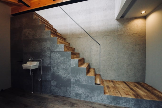 セメント系ボードを使用した内壁