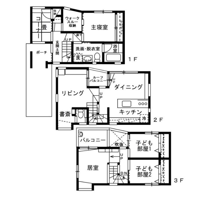 3階建ての戸建ての間取り図