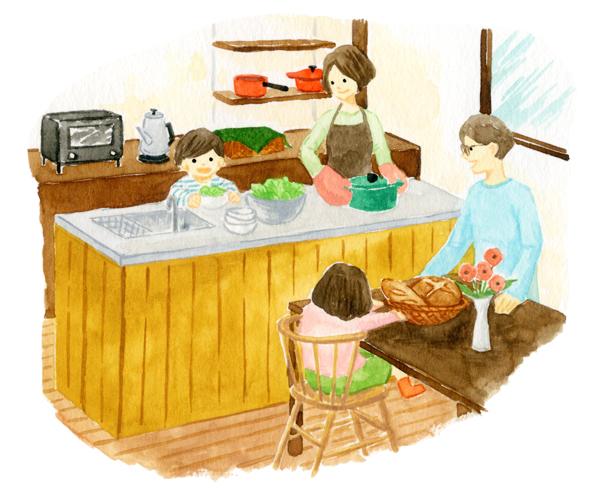 木造のキッチンを囲む家族