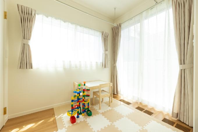 室内干しができるリビング/注文住宅実例