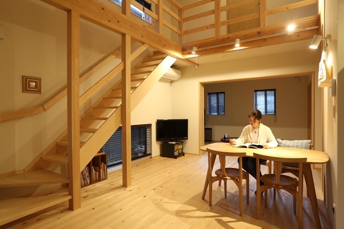 木材をふんだんにつかった明るいリビング/注文住宅実例
