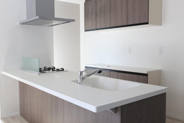 ペニンシュラ型のフラット対面式キッチン
