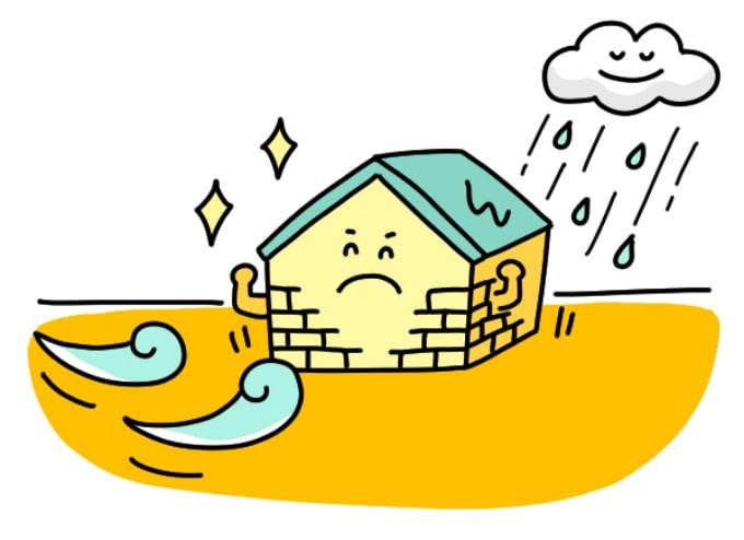 風雨に耐えるタイルのある家