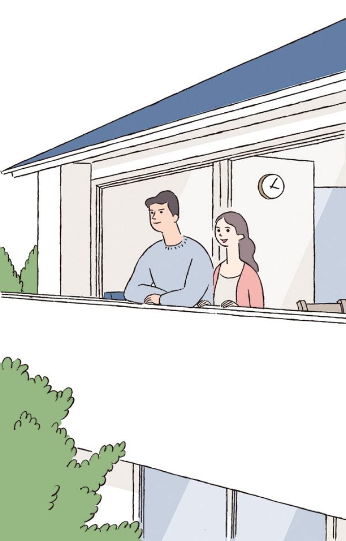 ベランダで外を眺める男女