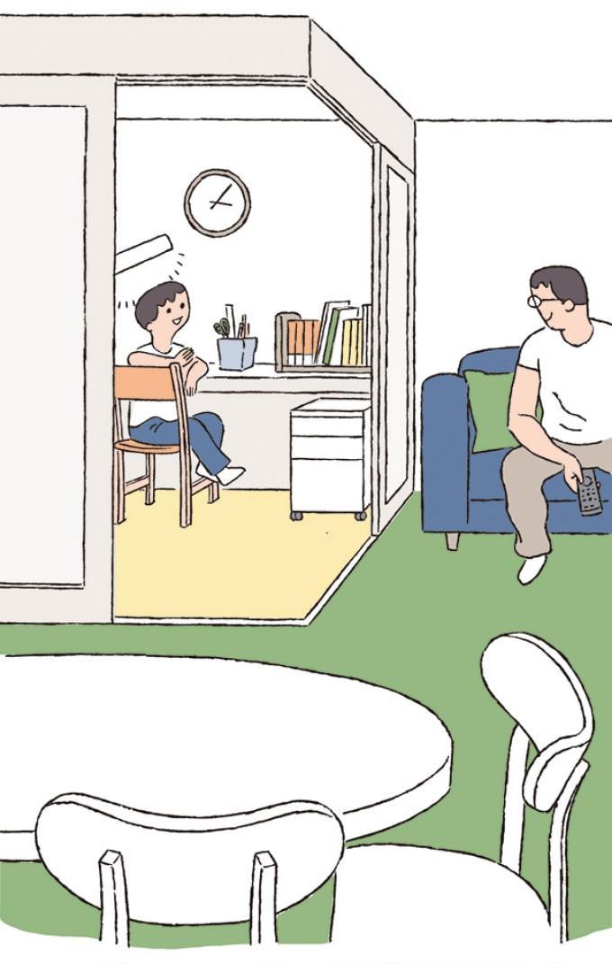 リビングの一部を子ども部屋にしてコミュニケーションをとる親子