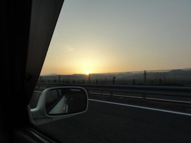 日の出@中央道(飯田と伊那の間辺り)