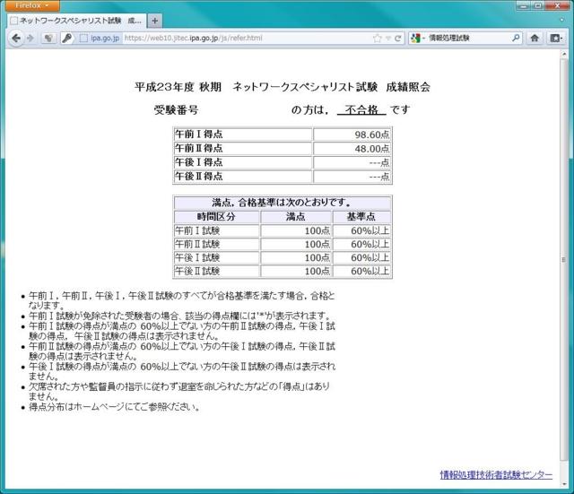 平成23年度 秋期   ネットワークスペシャリスト試験  成績照会