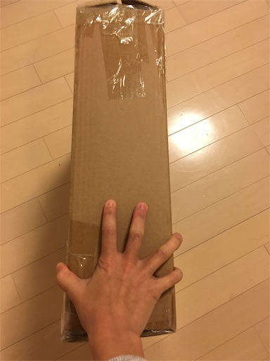 箱を片手で持ってみた様子