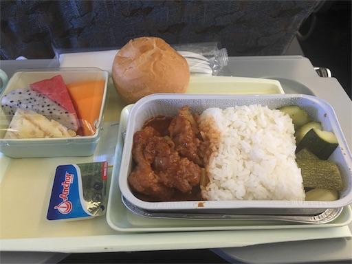 機内食 魚料理の写真
