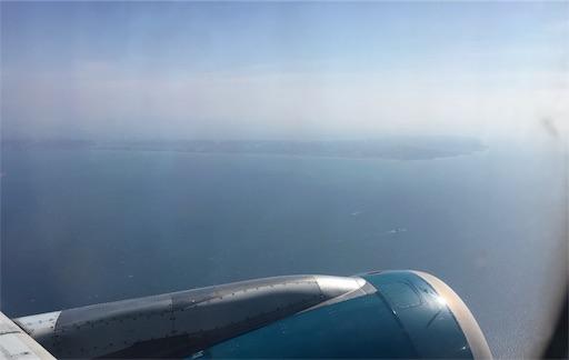 飛行機の中から見える空の様子