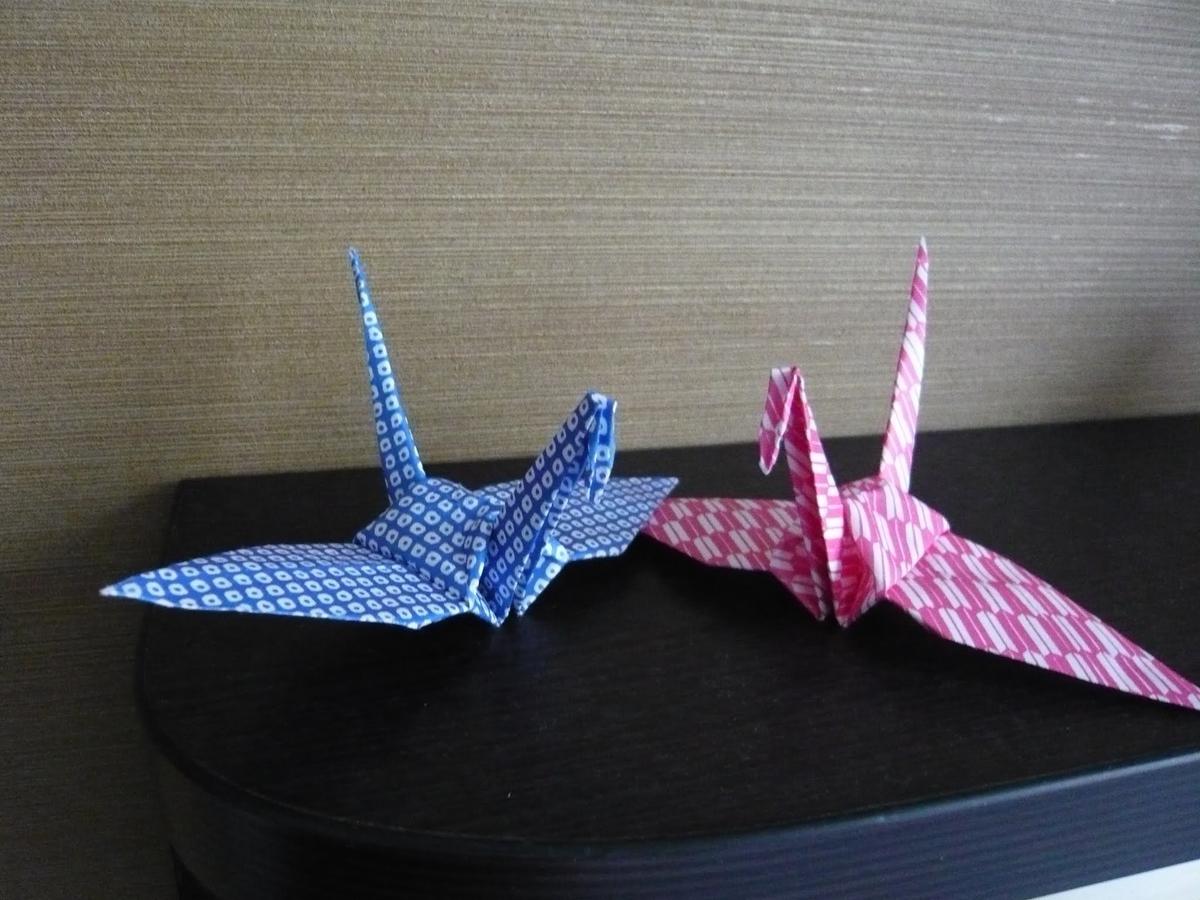 夫婦鶴の折り紙