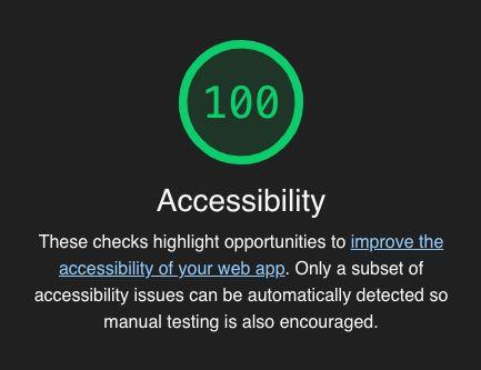 Lighthouseによるアクセシビリティスコアで100点が表示されている画像