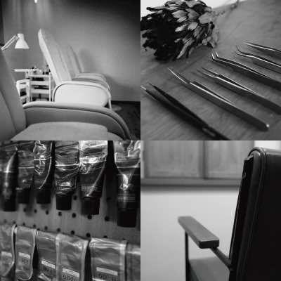 ヘアーカラー剤、椅子、ツイーザー、まつ毛エクステサロンベッド