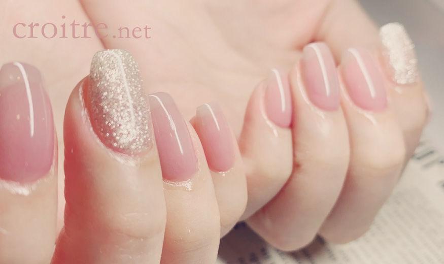 くすみピンクのネイル