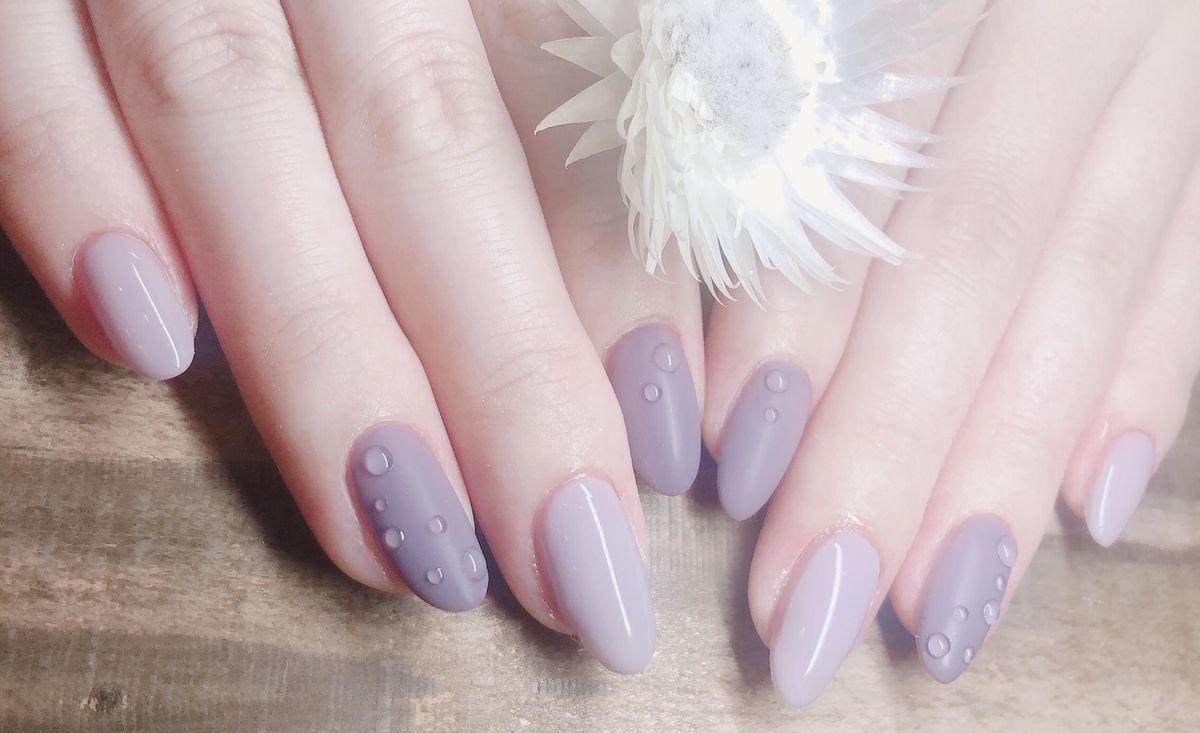 紫陽花色のネイル