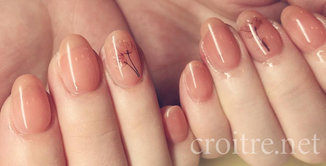 ピンクのフラワーネイル