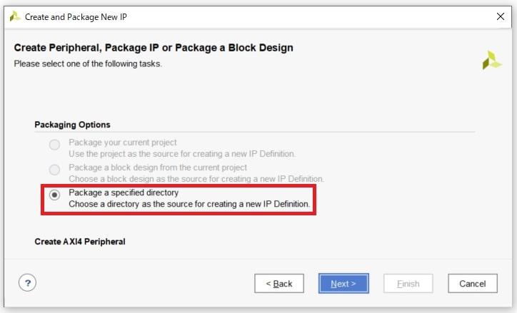 図4:「Package a specified directory」を選択する