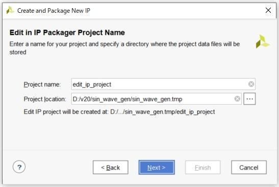 図6:IPを編集するプロジェクト名の入力