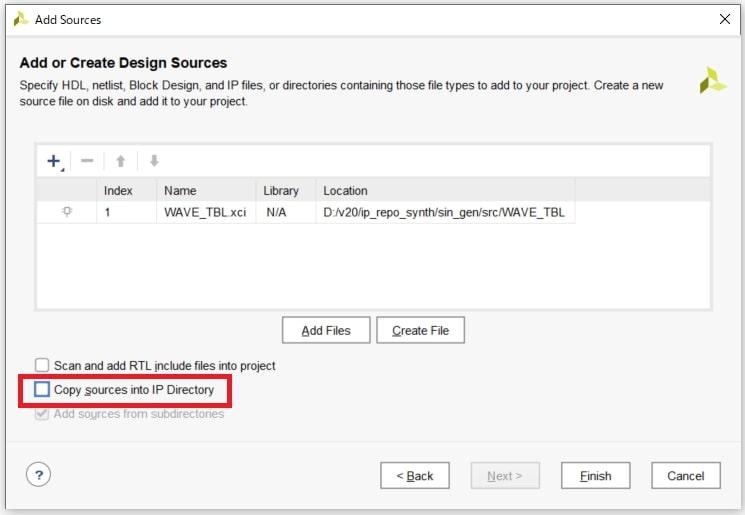 図18:「Copy sources into IP Directory」をチェックOFF