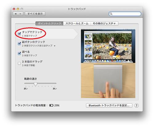 Magic Trackpadシステム環境設定