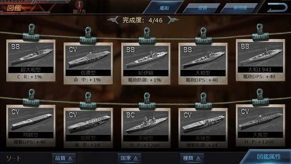 図鑑で戦艦の情報をチェックできて良い
