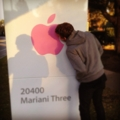 Biting the apple logo