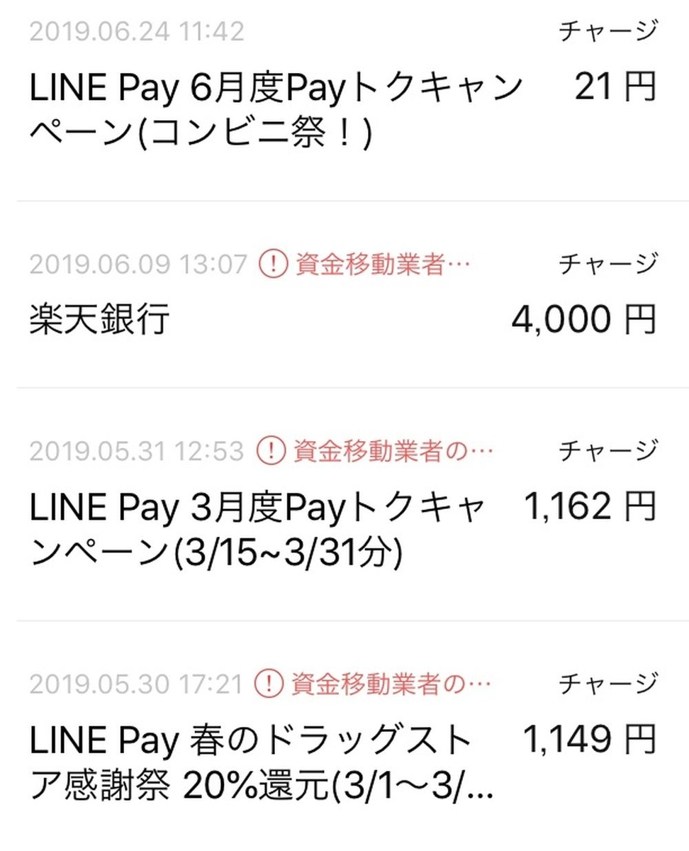 LINEpayチャージ履歴
