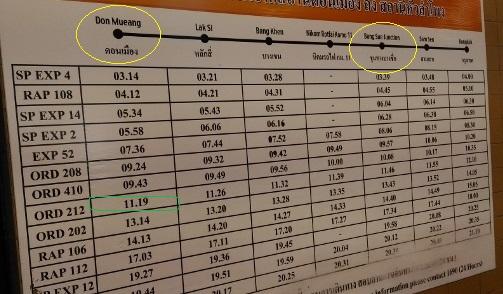 タイ国鉄時刻表画像