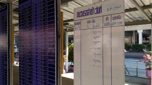 タイ国鉄の時刻表画像
