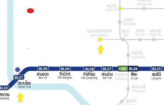 バンコクカオサン通りに電車で行く画像