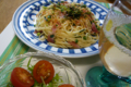 水菜とプチトマトのサラダは柚子ドレッシング