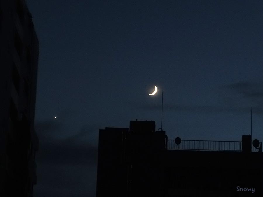 月と金星 2013-10-08 17:47:56