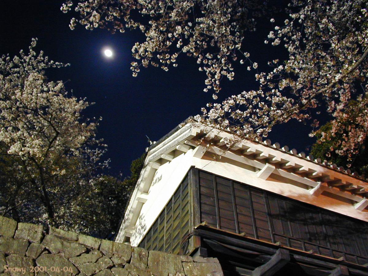 熊本城と桜と月 2001-04-04