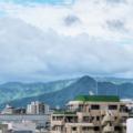 [福岡][空][雲]朝日の中の飯盛山(2018-06-28)