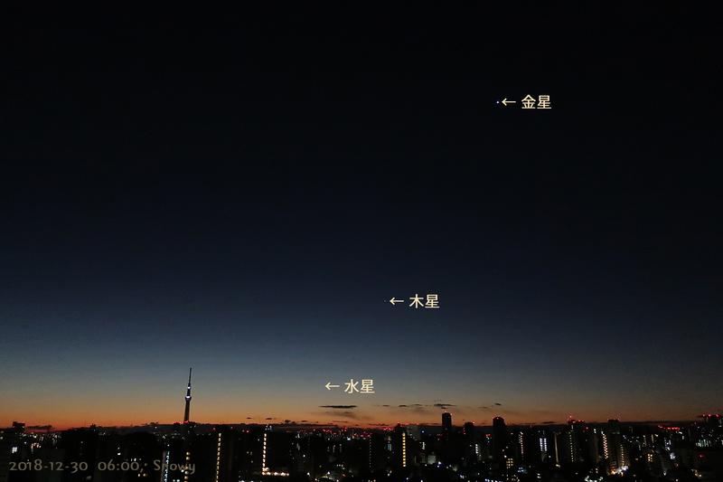 金星・木星・水星(2018-12-30)