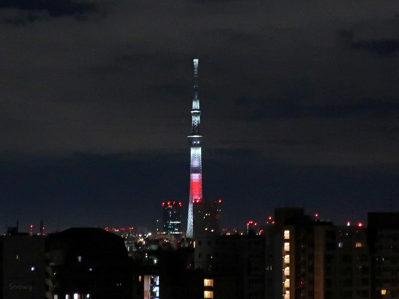日本国旗をイメージした年越し特別ライティング(2019-01-01)