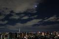 [空][夜明け][雲][星]日の丸スカイツリーと月と金星(2019-01-01)