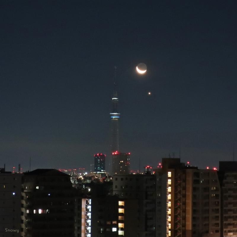月と金星とスカイツリー(2019-02-02)