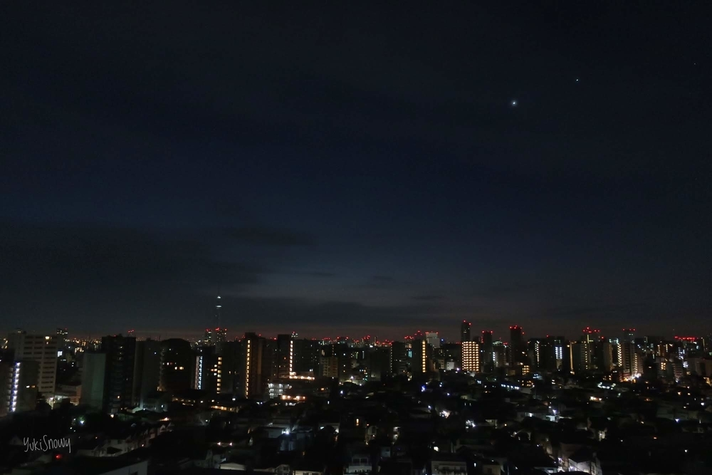 夜明けの金星と木星 2019-01-28 05:49
