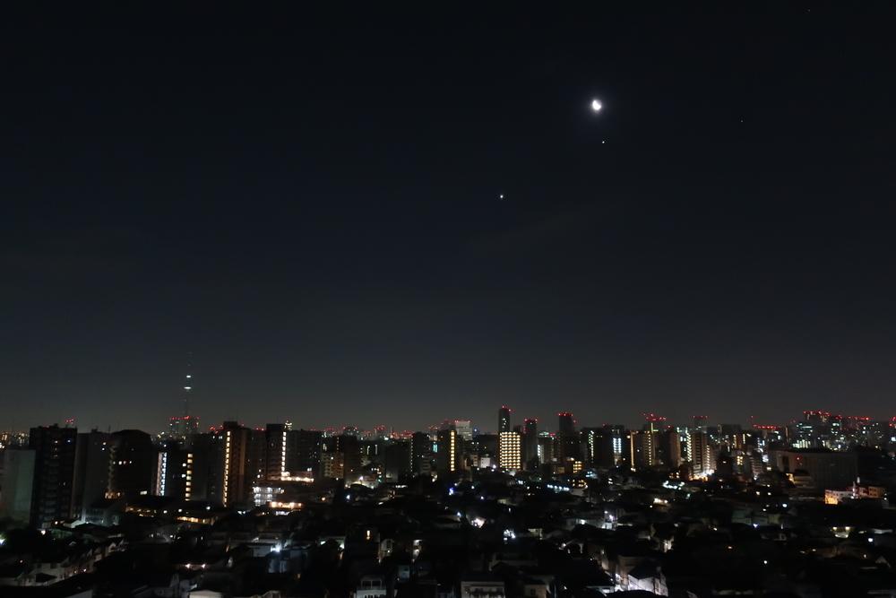 月と金星と木星(2019-01-31 05:26)