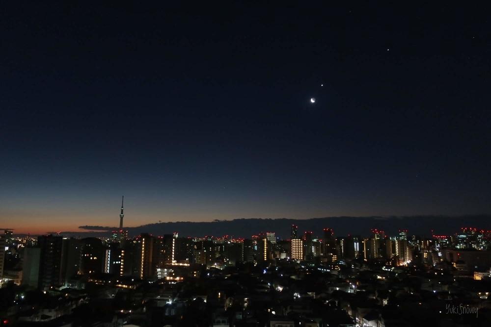 月と金星と木星(2019-02-01 05:48)