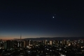 [星][月][空][雲][東京][朝]月と金星と木星(2019-02-01 05:48)