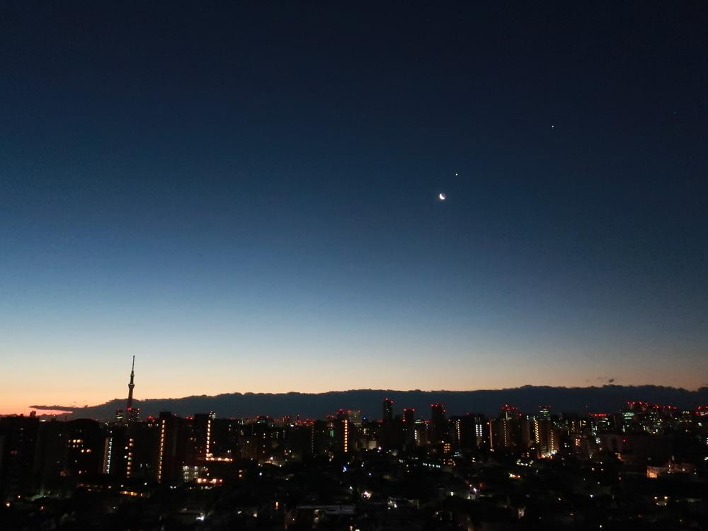 月と金星と木星(2019-02-01 06:01)