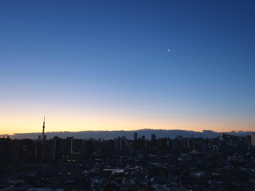 夜明けの月と金星と木星 2019-02-01 06:18