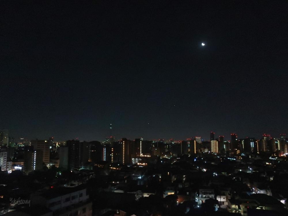 夜明けの月と金星と木星 2019-01-30 04:04