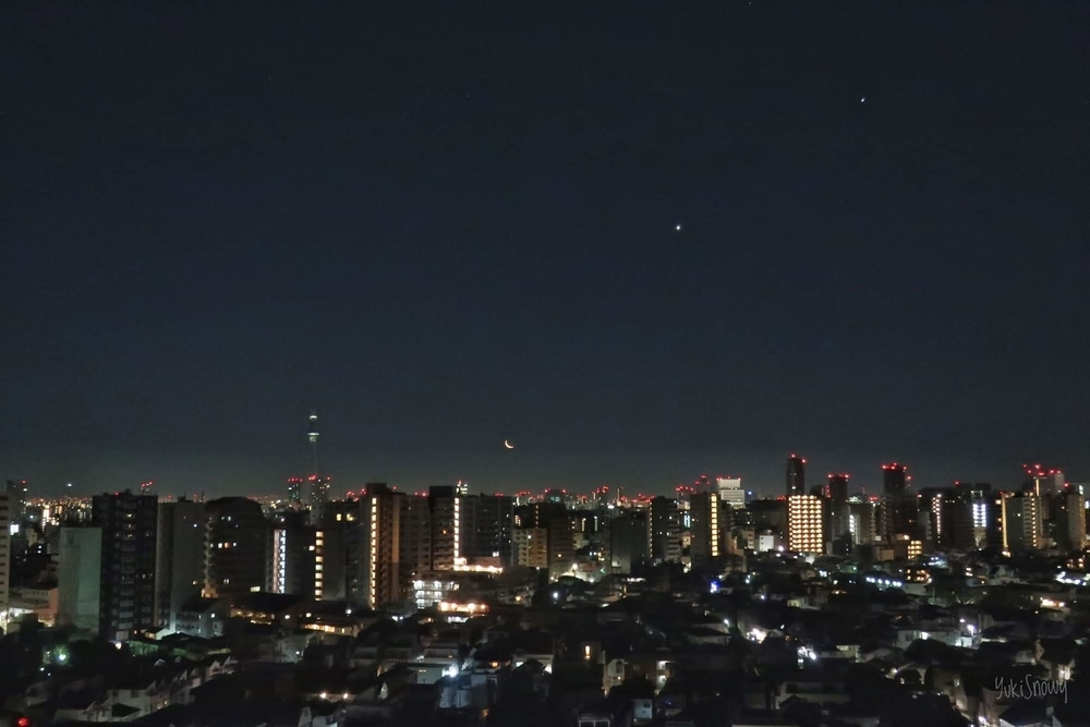 月と金星と木星 2019-02-02 04:59