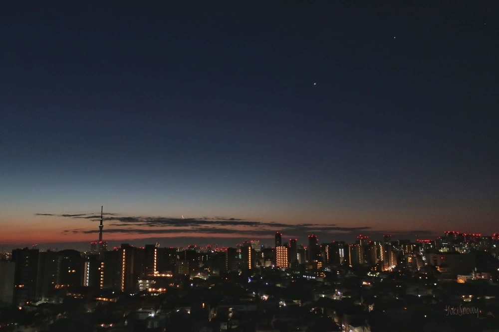 月と金星と木星(2019-02-03 05:56)