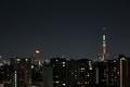 [月][東京][夜景][空]月の出/月齢18.6(2019-02-23 21:47)